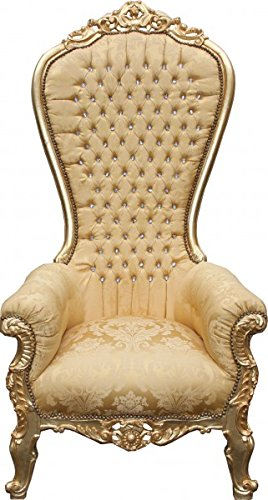 Casa Padrino Barock Thron Sessel Majestic Mod2 Gold Muster/Gold mit Bling Bling Glitzersteinen -...