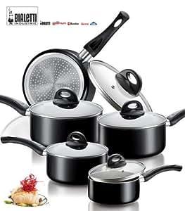 Idée cuisine: BATTERIE de CUISINE AETERNUM BIALETTI Induction Semplicity fond INDUCTION 10pcs: 3 CASSEROLES + 2 POELES + 5 COUVERCLES