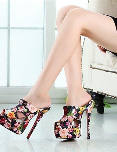 UWSZZ Die Sandalen elegante Comfort Schuhe Frau - Sandalen - Abend und Fest - Fersen/Tick - mandrin - Kunstleder - Schwarz/Rot/Grün Multi Color
