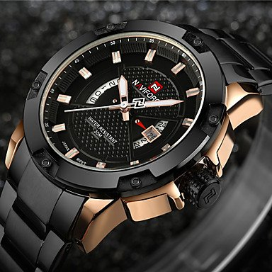 Schöne Uhren, NAVIFORCE Herren Sportuhr Militäruhr Kleideruhr Modeuhr Armband-Uhr Armbanduhren für den Alltag Armbanduhr Japanisch Japanischer Quartz ( Farbe : Black/Gold , Geschlecht : Für Manner )