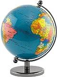 Brubaker - Globe terrestre - Design Moderne - Acier Inoxydable - Décoration Bureau - Hauteur 19 cm - Bleu foncé