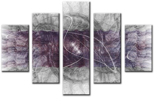 Lynxart Leinwanddruck 5Panel insgesamt 115x 80cm groß Art Wand Leinwand Abstrakt Digital muskey violett - Teal Grau-wand-kunst