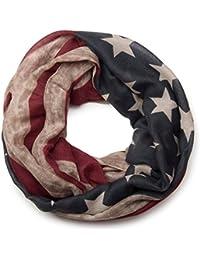 b55544522673 styleBREAKER design vintage USA motif drapeau tube de boucle écharpe,  étoiles et rayures, unisexe