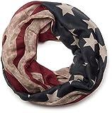 styleBREAKER Vintage Design USA Flaggen Muster Loop Schlauchschal, Stars and Stripes, Unisex 01016083, Farbe:Beige