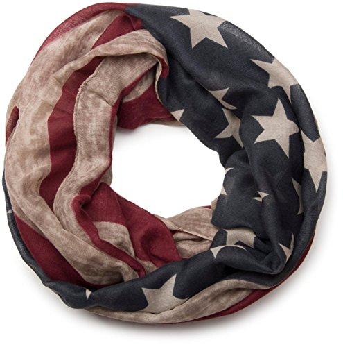 styleBREAKER Vintage Design USA Flaggen Muster Loop Schlauchschal, Stars and Stripes, Unisex 01016083, Farbe:Beige (Stripes-flagge Stars And)