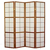 Paravento giapponese Shoji in legno marrone scuro di 4 pannelli