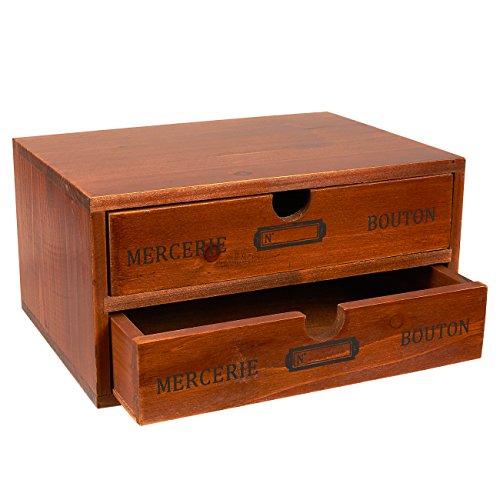 Schrank Schmuck Box Truhe (Set von 2Organizer Halter Schubladen–Dekorative Holz Schubladen mit Chic Französischen Design–24,8x 17,8x 12,7cm)