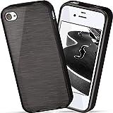 moex iPhone 4S | Hülle Silikon Schwarz Brushed Back-Cover TPU Schutzhülle Ultra-Slim Handyhülle für iPhone 4/4S Case Dünn Silikonhülle Rückseite Tasche