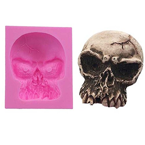 3D Totenkopf Halloween Kuchen Silikon Form, handgefertigte Seife Form, Kuchen, Form Dekorieren, Fondant Backen Werkzeug (Kuchen Backen Halloween)
