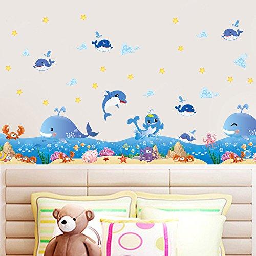 Blinkt Ecke (Wallpark Glücklich Unterwasser Blau Meer Delphin Wal Blinkt Sterne Ecke Fußleiste Abnehmbare Wandsticker Wandtattoo, Kinder Kids Baby Hause Zimmer Kinderzimmer DIY Dekorativ Kunst Wandaufkleber)