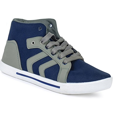 Super Men Canvas Grey & Blue Casual Shoes (Sneakers Shoes) (6 UK)  available at amazon for Rs.198