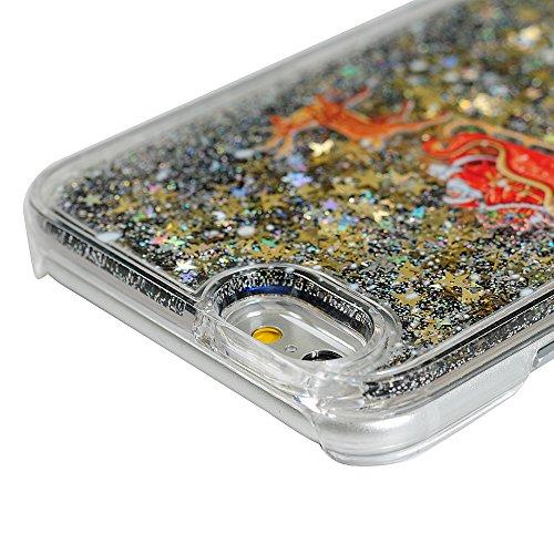 Badalink Handy Tasche iPhone 6 Hülle für iPhone 6s Case Cover Handycase PC Hardcase Harte Hülle Cover Transparente Schutzhülle mit Weihnachten Treibsand Pink Rosa Muster Design Image Print + 1x Staub  Schwarz