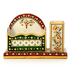 Little India Meenakari Marble Pen Stand and Visiting Card Holder (381, White)