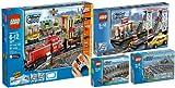 LEGO City 3677 7499 7895 7937 Eisenbahn Güterzug Bahnhof Weichen Schienen