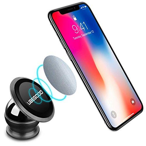 Ubegood Magnet Handyhalterung Auto Halterung Universal KFZ Halter für iPhone X/8/8 Plus/7/7Plus , Samsung Galaxy S8/ S7 /Note 8 und jedes andere Smartphone oder GPS-Gerät (Schwarz) Handy Tisch Halterung