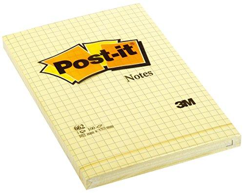 Post-it Brand 70209 Large Notes a Quadretti, 100 Fogli, 102 mm x 152 mm