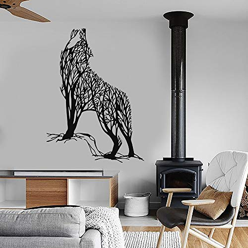 jiushizq Abstrakte Baum Wild Howling Wolf Predator Tier Vinyl Wandtattoo Wohnkultur Wohnzimmer Kunstwand Wandaufkleber Rot 85x117 cm -