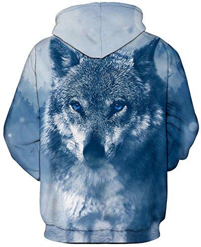 TDOLAH Femme Sweat-shirts à Capuche Fantaisie Pull Hoodie avec Impression Pluseurs Styles 7-Loup Bleu