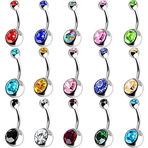 Outee 15 Pcs Stainless Steel Belly Button Ring Belly Bar Balls Navel Body Piercing Body Jewelry Piercing, Assorted Colors