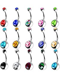 Outee 15 PCS Stainless Steel Belly Button Bars Balls Belly Button Ring Belly Piercing Set Piercing Body Jewelry