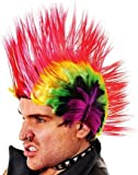 Multi Coloured Mohican Wig Rainbow Punk Rocker Jonny Rotten Fancy Dress
