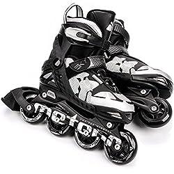 Meteor Sky: patines infantiles Rodamientos de 7 de carbono, Patines en línea con ajustable tamaño del zapato: S M L - S (30 - 33) de m (34 - 37) de l (38 - 41), SKY, negro / plateado, EU 30-33 (S)