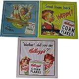 3er Set nostalgische Kellogg's - Blechschilder - 21 x 21 cm - Werbeschilder von Vintage Kellog