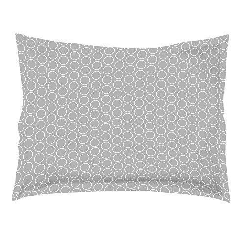 Douceur d'Intérieur Zodiac Taie D'Oreiller Volant Plat Coton Gris/Blanc 50 x 70 cm