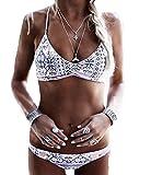 ASSKDAN Femme Bikini Bohême Blanc Imprimé Push-up Rembourré Maillot de bain Triangle