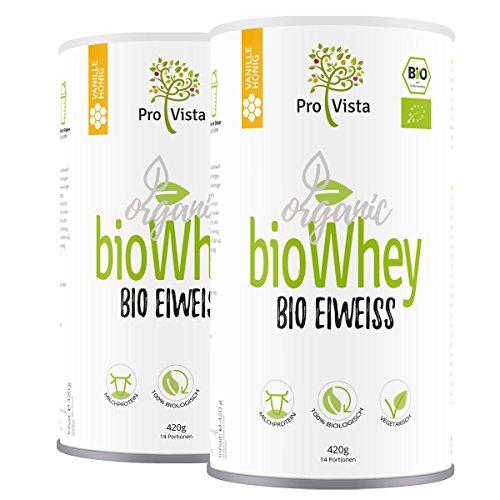 ProVista Bio Whey Protein - organic - Molkeneiweiss - Honig-Vanille (2 x Honig-Vanille) aus Schweizer Alpenmilch - Bio-klaren Honig