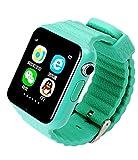 Leydee Smart Watch Niños Seguridad Anti-Lost GPS Tracker Smartwatch pantalla táctil con la cámara Facebook Kids SOS emergencia Baby Gifts Watch para Iphone y Android , green
