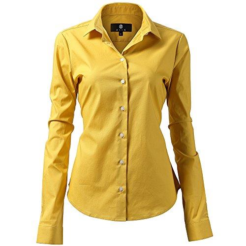 Harrms Camisa de Vestir Elástica Mujer, diseño clásico Trabajo/Reunion/Ceremonia/Boda/Fiesta/Ocasiones Formales/Casuales, Dorado, Cuello 47CM, Pecho 136CM