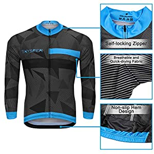 SKYSPER Cycling Maillot Men Jersey + Long Pants Long Sleeve Cycling Bib Set Clothing Set Maillot Entretiempo for Outdoor Sports Cycling Bike