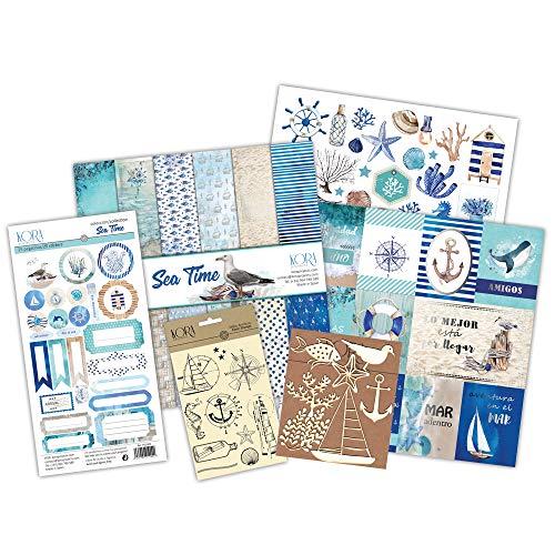 Kit scrapbooking - Sea Time tarjetas en ESPAÑOL