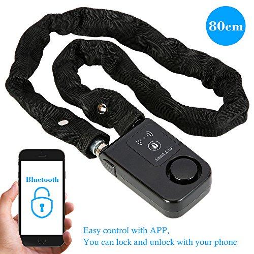 KKmoon Cerradura Smart Lock Bluetooth 80cm Cadena Negro Alarma Antirro