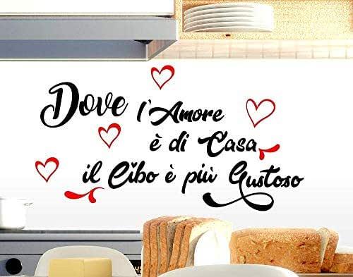Adesivi murali frasi cucina amore casa il cibo è più Gustoso scritte italiano decorazione della casa da parete Decorazione parete adesivi per muro decorazione casa wall stickers cuoco stickerdesign