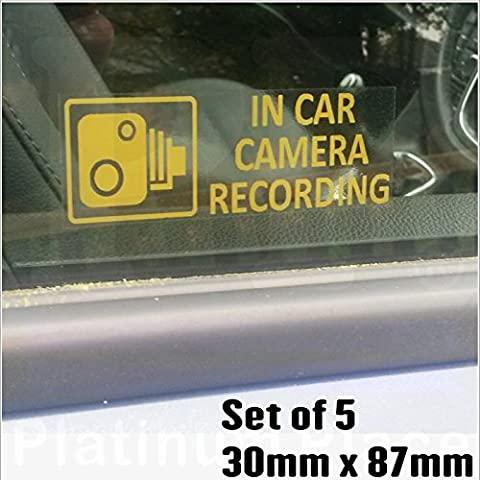 5 x Small In Car Camera Recording Stickers-See Colour Availability-Orange,Red or White Printed-CCTV Sign-Van,Lorry,Truck,Taxi,Bus,Mini Cab,Minicab-Security-Window,External,Tinted-Go Pro,Dashcam (Orange on Clear - Window