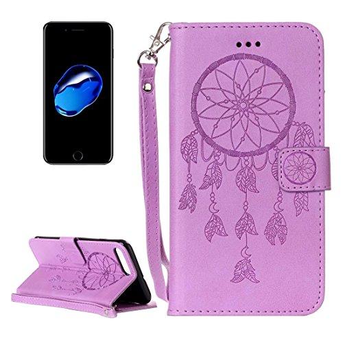 GR Für iPhone 7 Plus Crazy Pferd PU Leder Textur Dream Catcher Druck Horizontal Flip Case mit Halter & Card Slots & Wallet & Lanyard ( Color : Pink ) Purple
