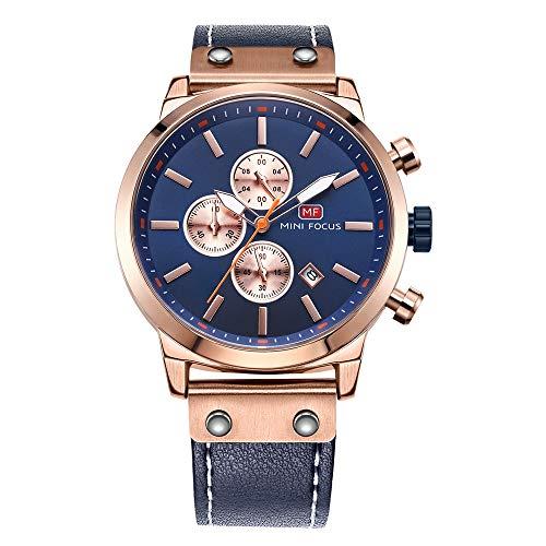 MINI Focus Herren Business Uhren Quarz Chronograph Wasserdicht Uhren Sport Lederarmband Armbanduhr Japan Ltd Mini