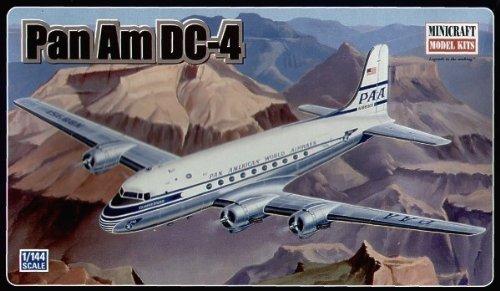 2001-douglas-pan-am-dc-4-airplane-14500-plastic-model-kit-1144-scale-by-pan-am-airplane