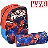 Zaino Zainetto Marvel Spiderman Asilo con Astuccio Tombolino Kit Uomo Ragno per Bambini Scuola