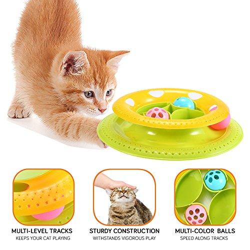 Cat Tower Toy, Auoker Super Fun Tower Ball & Track Toy Endless Interactive PET Cat Ball Spielzeug für Kätzchen & Solo-Spiel oder mehr Katzen gr OUP spielen, aktualisiert -