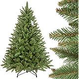 FairyTrees künstlicher Weihnachtsbaum FICHTE Natur, grüner Stamm, Material PVC, inkl. Metallständer, 150cm, FT01-150