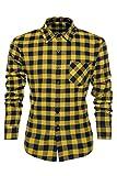 Coofandy Camisa a Cuadros para Hombre Manga Larga Talla Grande Amarillo XXL