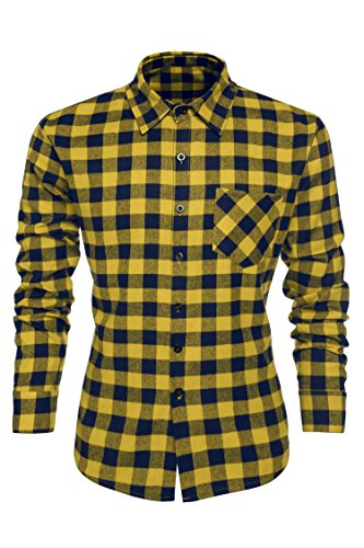 Coofandy Camisa Talla Grande 3XL Hombre Algodón de Marca Slim Fit Moda Amarillo