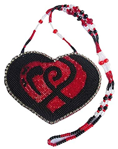 La Viva Sweet Rot Schwarz Herz Design Seed Perlen Lang Medaillon Halskette n-5-sb-137
