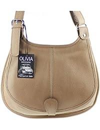 OLIVIA - Sac bandoulière Cuir beige taupe PRATO N1021 Sac à main