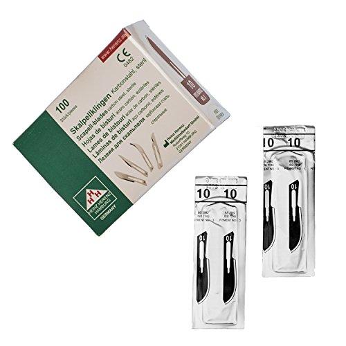 Skalpellklingen Figur 10 aus Karbonstahl für Skalpell-Halter Nr. 3-100 Stk - Ersatzklingen einzeln steril verpackt