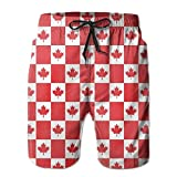 Photo de IconSymbol Man Beach Board Shorts Canada Flag Maple Leaves Red Plaid Beach Trunks par IconSymbol