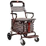 XUANLAN Leichter Warenkorb Leichter faltender 4-Rad-Walker mit Einkaufswagen zusammenklappbarem Trolley für ältere Personen Starke Tragfähigkeit (Color : A)